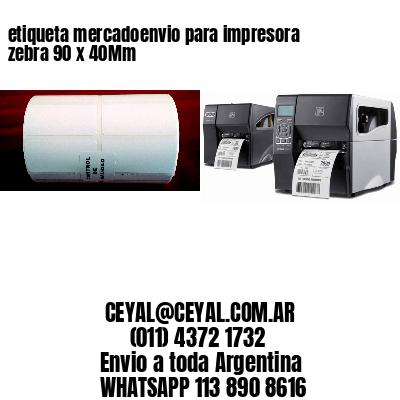 etiqueta mercadoenvio para impresora zebra 90 x 40Mm