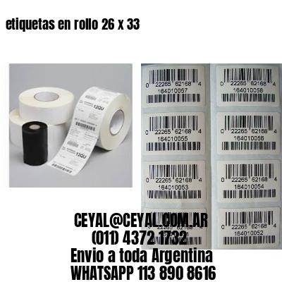 etiquetas en rollo 26 x 33