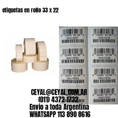 etiquetas en rollo 33 x 22