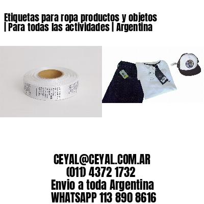 Etiquetas para ropa productos y objetos | Para todas las actividades | Argentina