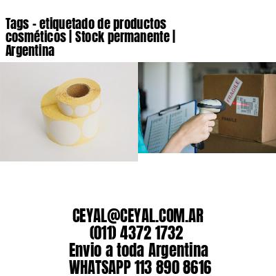 Tags - etiquetado de productos cosméticos | Stock permanente | Argentina